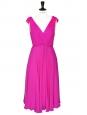 Robe dos nu décolleté V en mousseline de soie rose fushia Px boutique 740€ Taille 36