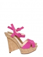 Fuchsia pink cotton canvas sandals with cork wedge heel NEW Size 37