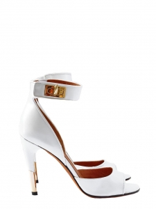 Gold Shark lock white leather heel sandals NEW Retail pice $975 Size 37