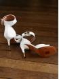 Sandales Shark lock en cuir blanc et fermoir doré NEUVES Px boutique $975 Taille 37