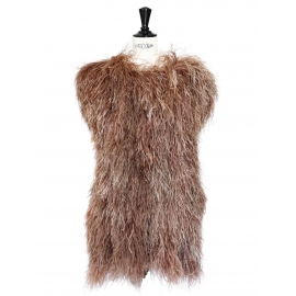 Light brown ostrich feather covered cocktail dress Retail price 3000€ Size 36