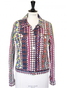 Colorful ethnic print cotton denim jacket Size 38/40