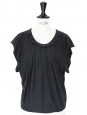 Sleeveless black cotton top Size 36