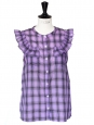Purple and black plaid print sleeveless top Retail price €150 Size 38