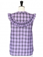 Purple and black plaid print sleeveless top Size 38/40