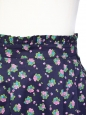Purple and green flowers printed cotton high waist skirt Size 36