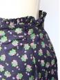 Jupe taille haute en coton imprimé fleur violet et vert Taille 36