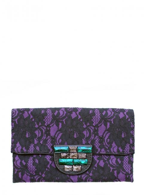 Pochette clutch du soir en dentelle noire et violette Px boutique 130€