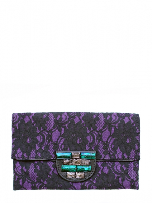 Purple and black lace evening clutch Retail price €130