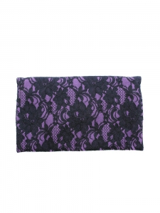 Purple and black lace evening clutch