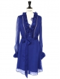 Royal blue silk chiffon long sleeves dress Retail price $800 Size S
