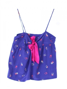 Blue and fuchsia silk night short and top Size 38