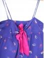 Top et short de nuit bleu roi imprimé géométrique et ruban fushia Taille 38