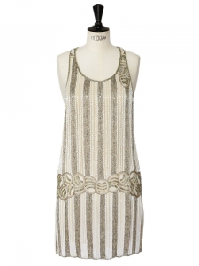 KATE MOSS Gatsby 20's flapped dress embroidered with beige and ecru beads Size 38