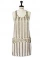 Robe KATE MOSS Gatsby 20's brodée de perles écru et beige Taille 38