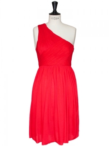Vibrant red fine jersey one-shoulder cocktail dress Retail price 350€ Size 40