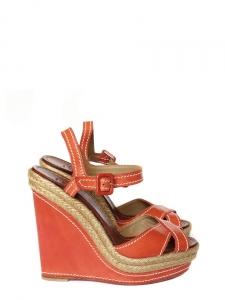 Sandales compensées espadrilles en cuir rouge et jute Px boutique 525€ Taille 37