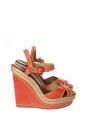 Sandales ALMERIA compensées espadrilles en cuir rouge et jute Px boutique 525€ Taille 37
