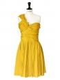 Mustard yellow asymmetrical cocktail dress Retail price 2500€ Size 38