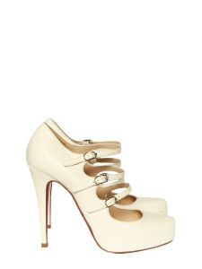 Lillian Multi-strap white leather mary-jane pumps Retail price $995 Size 37