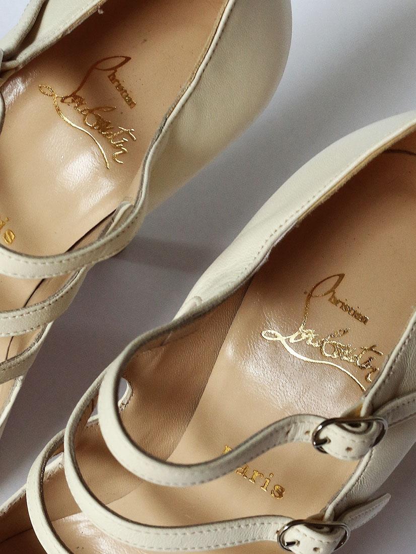 3b00080a4e4866 ... Escarpins multi-brides Lilian en cuir blanc Px boutique $995 Taille 37  ...