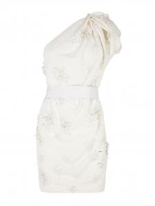 Robe de mariée une bretelle en lin blanc brodée de perles Px boutique 5200€ Taille 40