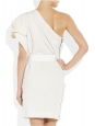 White linen beads embroidered one shoulder dress Retail price 5200€ Size 40