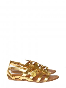 Gold metallic leather flat gladiator sandals Retail price 450€ Size 38