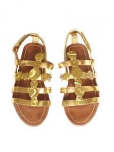 Gold metallic leather flat gladiator sandals Retail price 450€ Size 38
