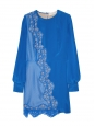 Electric blue Blue Joan silk crepe-de-chine and lace dress Retail price $2300 Size 40