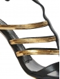 Black leather and gold metallic strap heel sandals Size 37