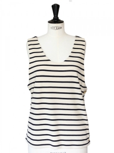 Cream and dark blue striped sailor tank top Size L