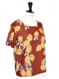Nutmeg brown and yellow floral print short sleeves top Size 38