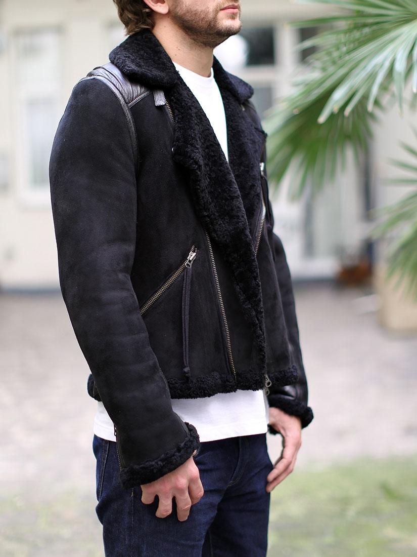 louise paris acne black suede shearling jacket retail. Black Bedroom Furniture Sets. Home Design Ideas