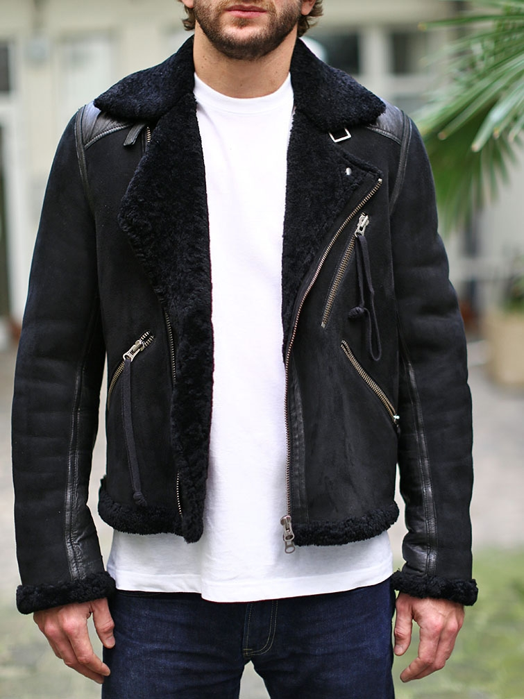 louise paris acne veste shearling jacket homme en cuir de mouton retourn noir px boutique. Black Bedroom Furniture Sets. Home Design Ideas