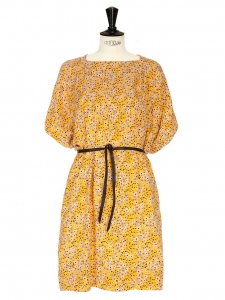 Orange floral print Jersey dress Retail price 350€ Size 36/38