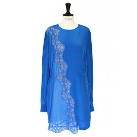 Robe JOAN en soie crêpe de chine et dentelle bleu électrique Prix boutique $2300 Taille 40