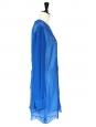Robe Joan en soie crêpe de chine et dentelle bleu électrique Px boutique $2300 Taille 40