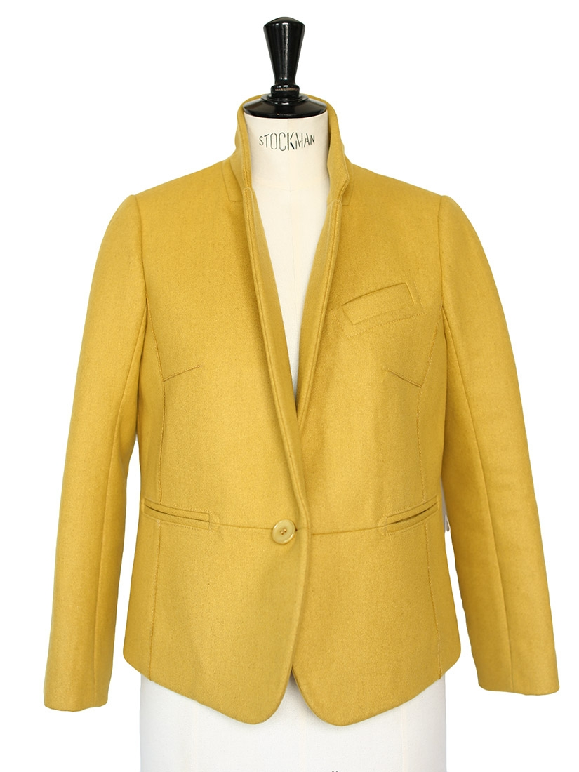 louise paris carven veste blazer en laine jaune moutarde anis neuve prix boutique 430 taille 38. Black Bedroom Furniture Sets. Home Design Ideas