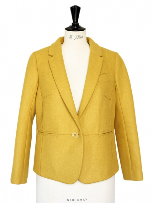 Mustard yellow wool blazer jacket NEW Retail price €430 Size 38