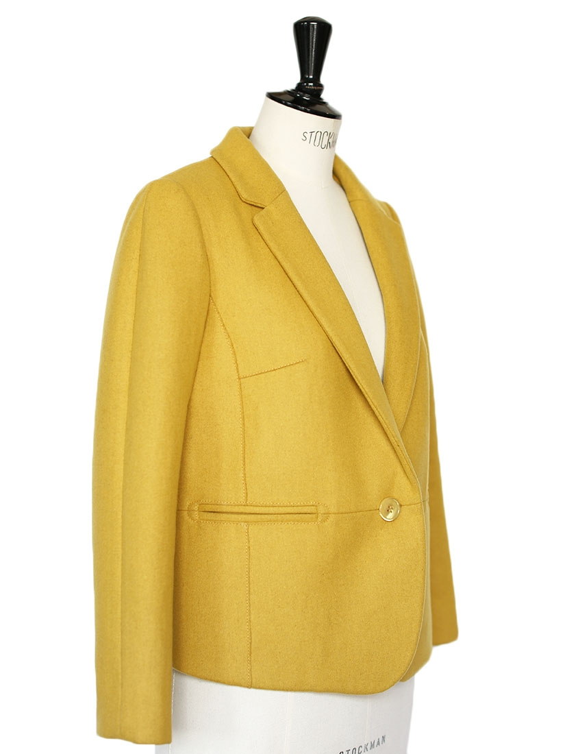 louise paris carven veste blazer en laine jaune moutarde anis neuve px boutique 430 taille 38. Black Bedroom Furniture Sets. Home Design Ideas