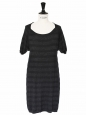 Black wool and silk knitted short sleeves dress Size 38