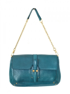 """Sac clutch """"Emma"""" en cuir grainé bleu vert canard et chaîne dorée Px boutique 1200€"""