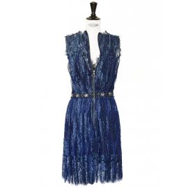 Robe Haute Couture en dentelle bleue nuit brodée de cristaux Swarovski Px boutique 6000€ T 36