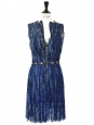 Haute Couture lace and Swarovski crystals dark blue dress Retail price 6000€ Size 36