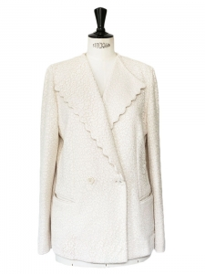 White scalloped lace blazer jacket Retail price 1670€ Size 42