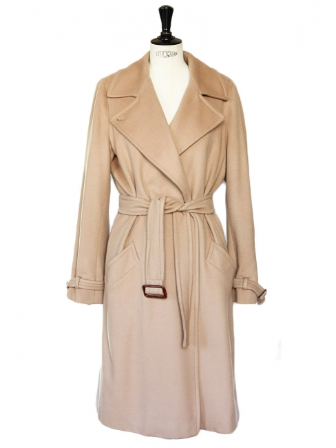 Tan beige wool long coat Retail price 800€ Size 40