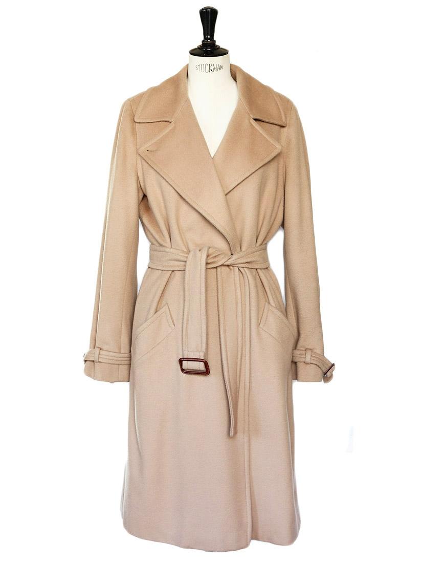 Louise Paris Max Mara Tan Beige Wool Long Coat Retail