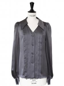 Dark grey silk satin long sleeves shirt Retail price 600€ Size 36