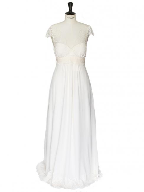 RUIZ ecru white fine lace and silk wedding dress Retail price 2850€ Size 38
